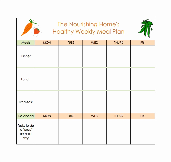 Monthly Meal Planner Template Elegant 18 Meal Planning Templates Pdf Excel Word
