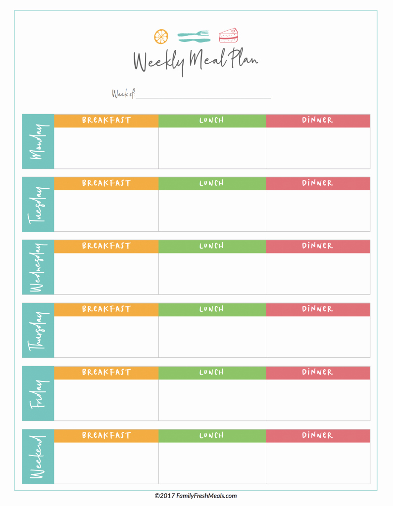 Monthly Meal Planner Template Elegant Free Meal Plan Printables Family Fresh Meals