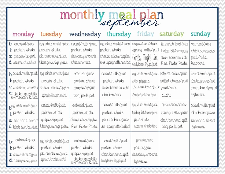 Monthly Meal Planner Template Inspirational Best 25 Monthly Meal Planning Ideas On Pinterest