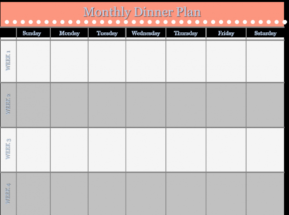 Monthly Meal Planner Template Lovely Meal Planner Template
