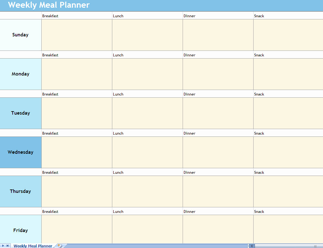 Monthly Meal Planner Template Lovely Weekly Meal Planner Excel Spreadsheet