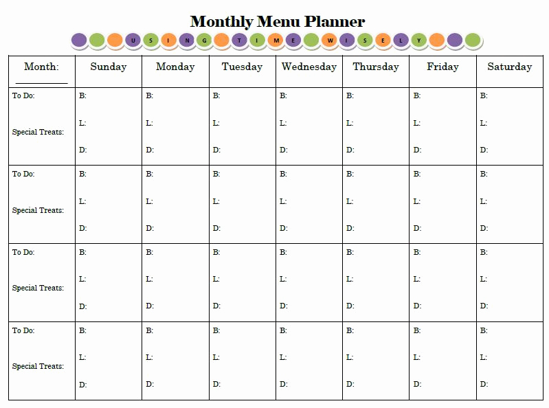 Monthly Meal Planner Template Luxury Menu Planning Archives • Using Time Wisely