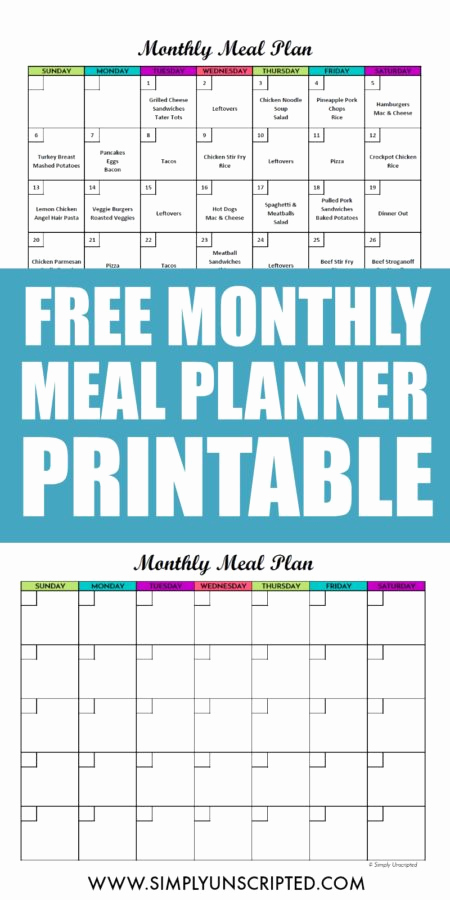 Monthly Meal Planner Template Unique Free Monthly Meal Planner Printable Calendar Template for