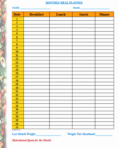 Monthly Meal Planner Template Unique Meal Planner Template