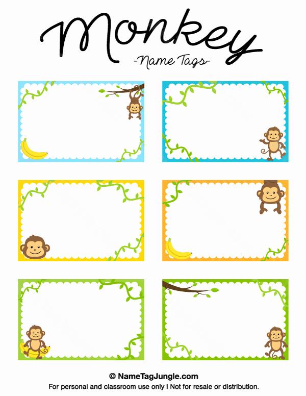 Name Tag Template Free Printable Luxury Free Printable Monkey Name Tags the Template Can Also Be