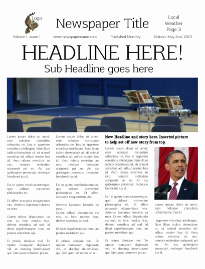 Newspaper Front Page Template Lovely Newspaper Templates for Students