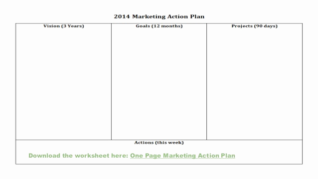 One Page Marketing Plan Best Of E Page Marketing Action Plan for solopreneurs