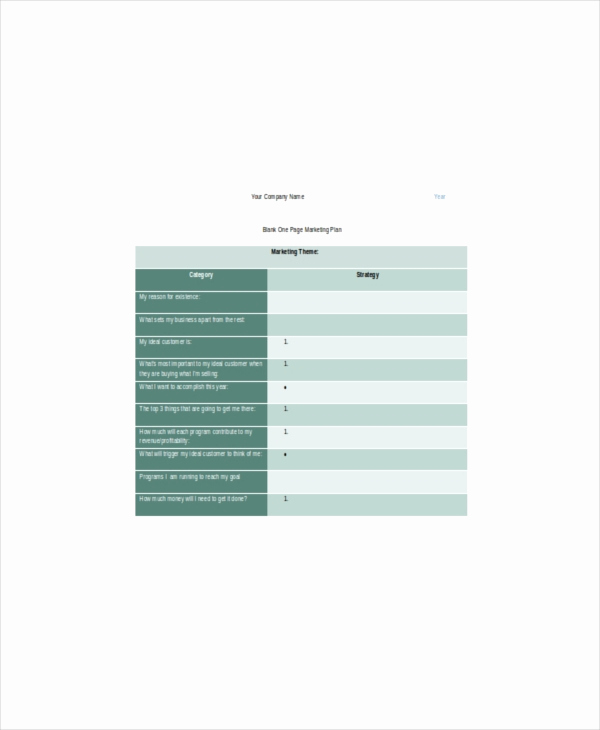 One Page Marketing Plan Best Of E Page Marketing Template – 7 Free Word Pdf Documents