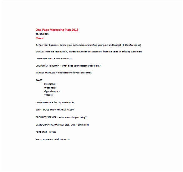 One Page Marketing Plan New E Page Marketing Plan Template – 16 Free Sample