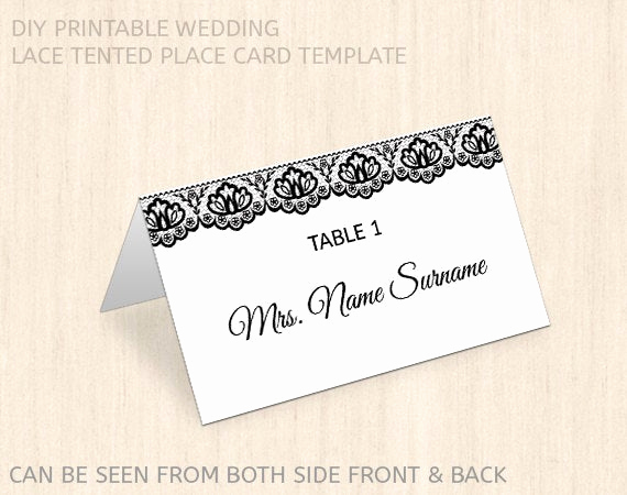 Place Card Template Word Best Of Items Similar to Printable Wedding Place Card Template
