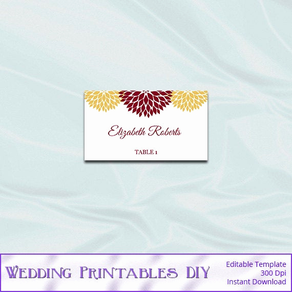 Place Card Template Word Inspirational Printable Wedding Place Card Template by Weddingprintablesdiy