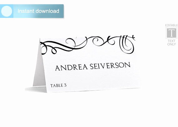 Place Card Template Word Luxury Place Card Template Download Instantly by Karmakweddings