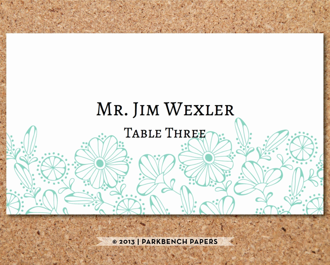 Place Card Template Word Luxury Place Card Template Floral Mint Diy Editable Word