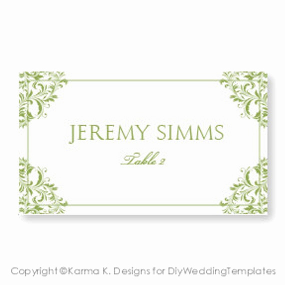 Place Card Template Word Luxury Wedding Place Card Template Download Instantly by