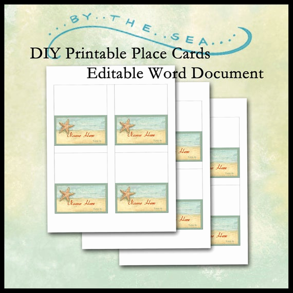 Place Card Template Word New Diy Printable Place Card Template by the Sea Beach Starfish