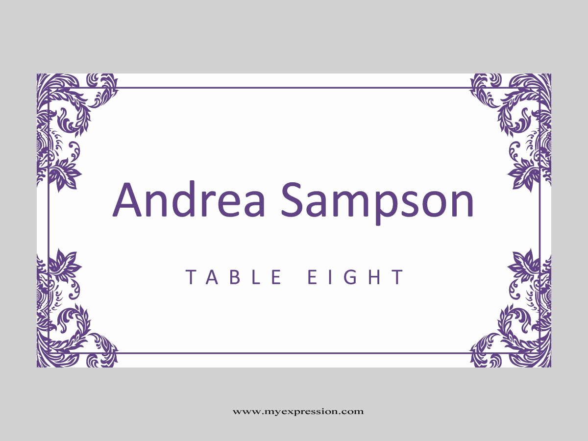Place Card Template Word Unique Wedding Place Cards Template Folded Purple Damask
