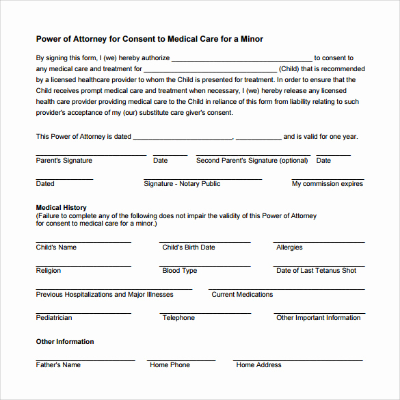 Printable Power Of attorney Beautiful 11 Medical Power Of attorney forms – Samples Examples