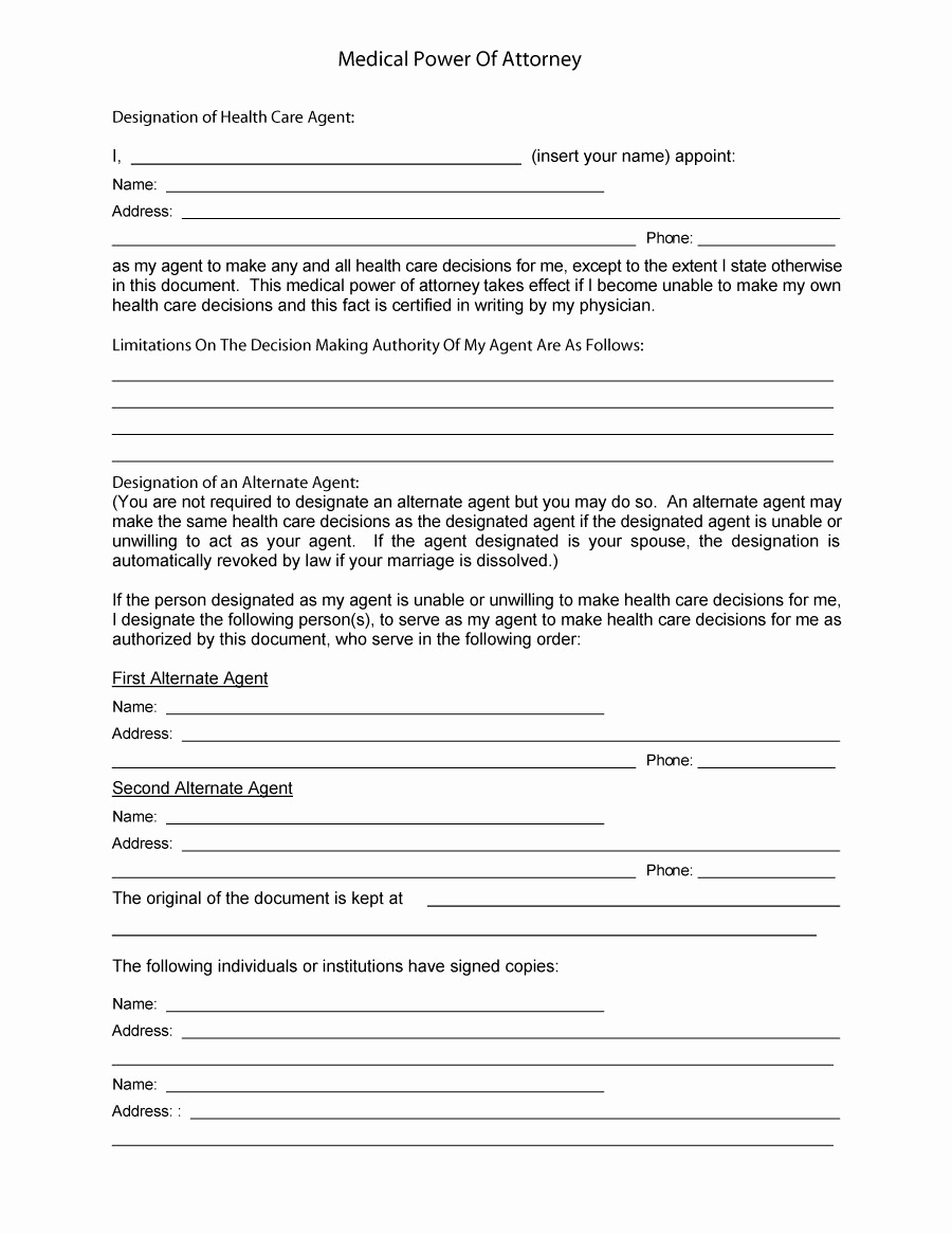 Printable Power Of attorney Beautiful 50 Free Power Of attorney forms & Templates Durable