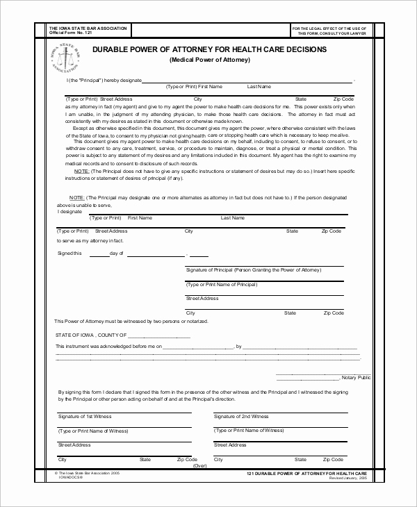Printable Power Of attorney Best Of 8 Sample Medical Power Of attorney forms