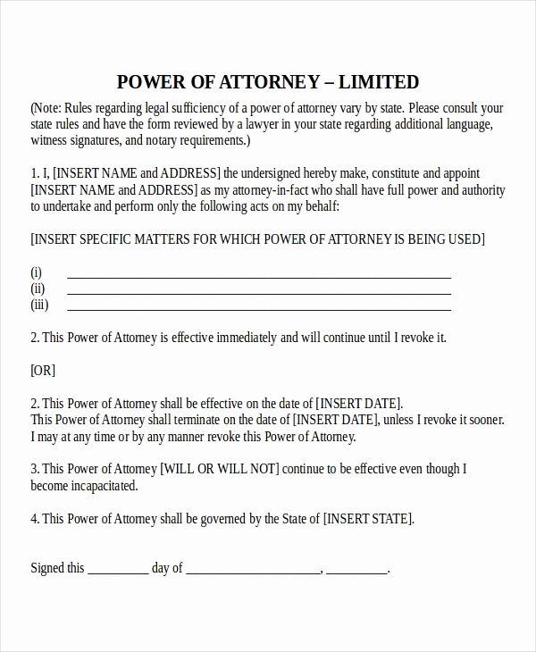 Printable Power Of attorney Elegant 15 Power Of attorney Templates Free Sample Example