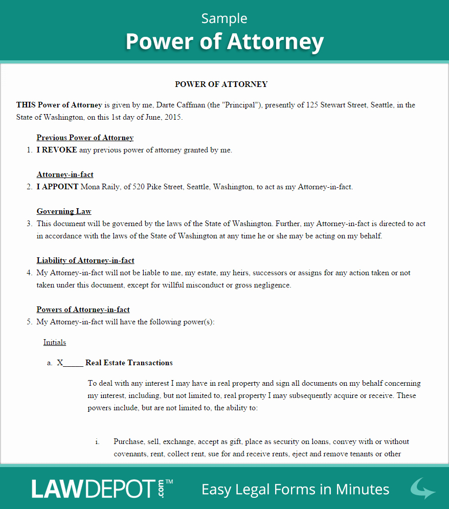 picture relating to Free Printable Power of Attorney Form Washington State called Printable Electrical power Of lawyer Luxurious Energy Of legal professional sort