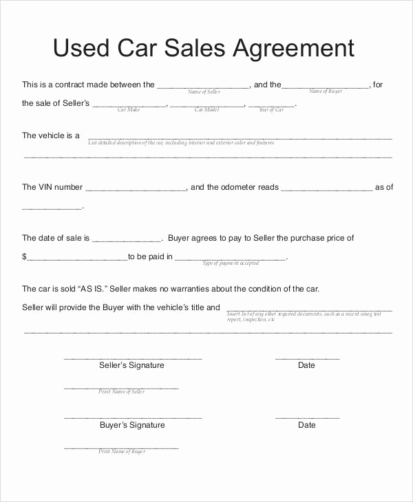Printable Vehicle Purchase Agreement Awesome Used Car Sales Agreement