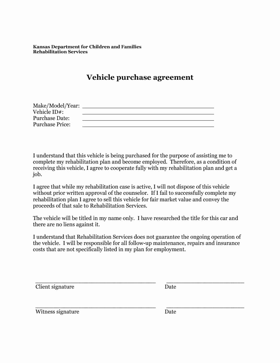Printable Vehicle Purchase Agreement Beautiful 42 Printable Vehicle Purchase Agreement Templates