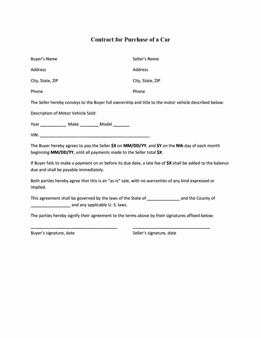 Printable Vehicle Purchase Agreement Lovely 42 Printable Vehicle Purchase Agreement Templates
