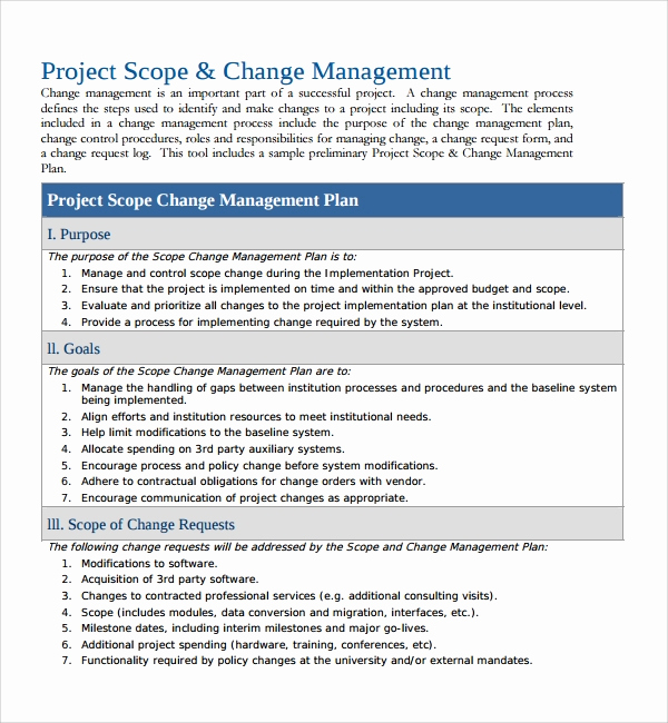Project Management Plan Example Elegant Sample Change Management Plan Template 13 Free