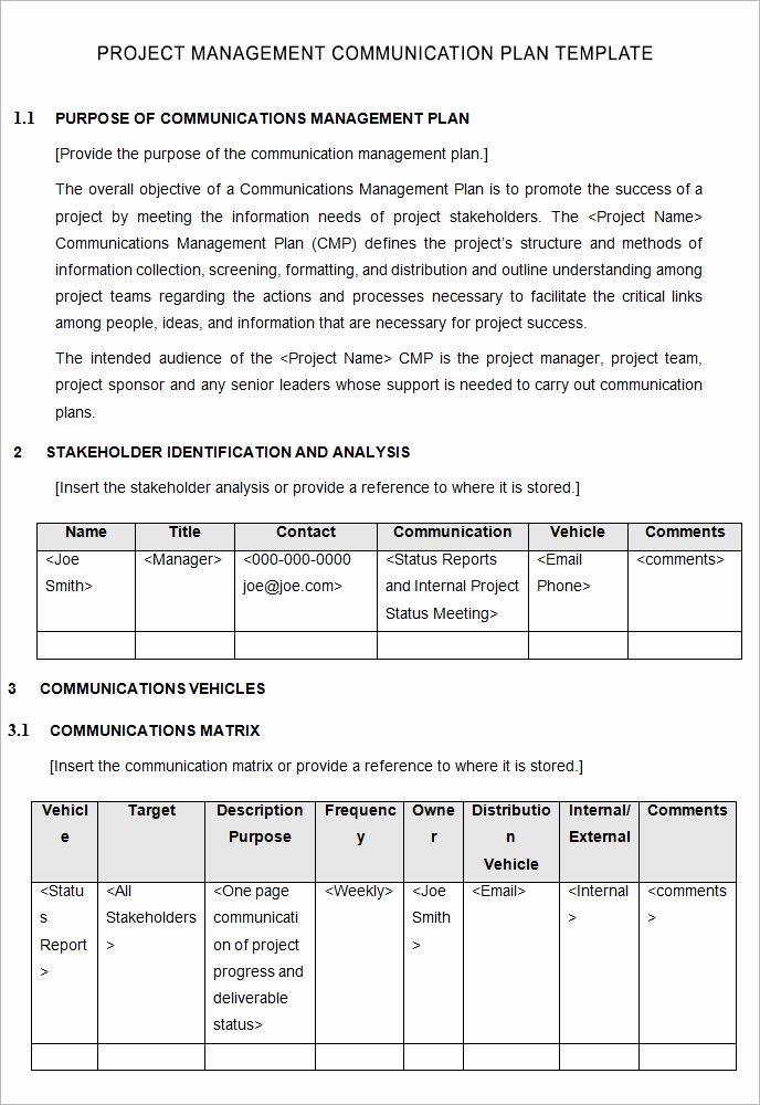 Project Management Plan Example Unique 10 Project Management Munication Plan Templates