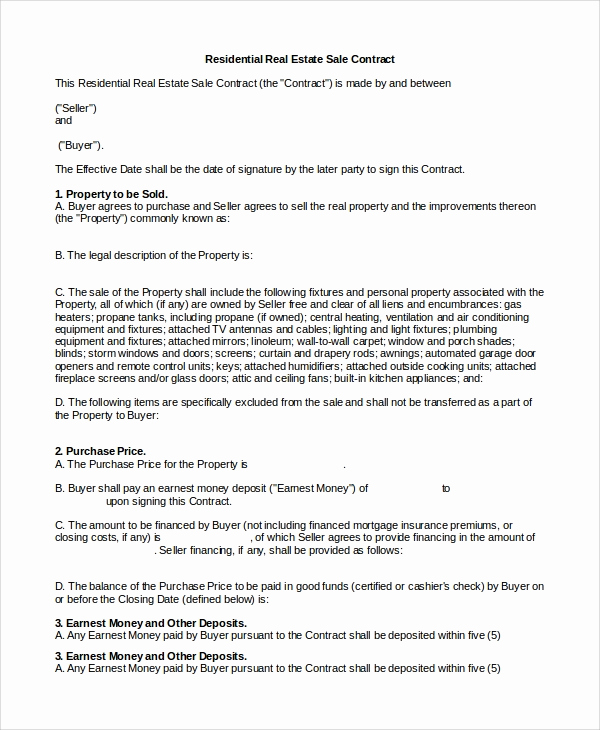 Real Estate Contract Template Awesome 10 Real Estate Sales Contract Samples