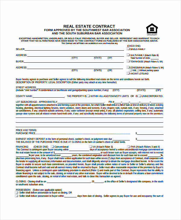 Real Estate Contract Template Awesome Real Estate form 9 Free Sample Example format