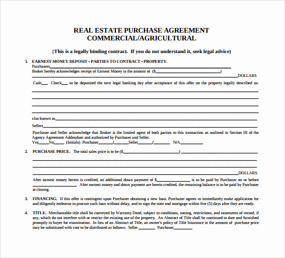 Real Estate Contract Template Inspirational 7 Sample Home Purchase Agreements