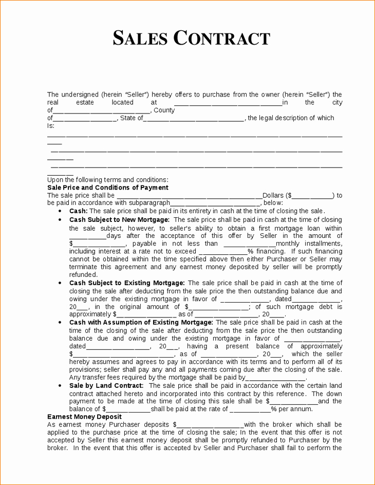 Real Estate Contract Template Lovely Real Estate Sales Agreement
