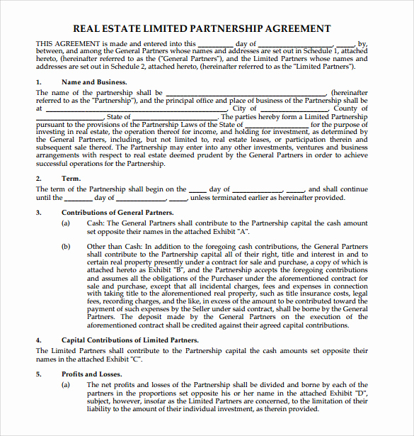 Real Estate Contract Template Lovely Sample Real Estate Partnership Agreement 10 Free