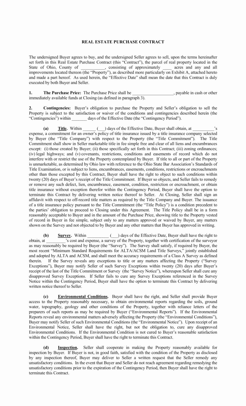 Real Estate Contract Template New 8 Real Estate Purchase Agreement Templates Pdf