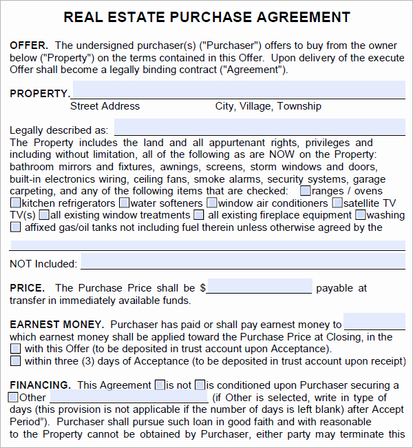 Real Estate Contract Template New Free Real Estate Purchase Agreement Template Free