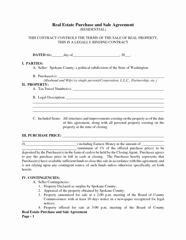 Real Estate Contract Template Unique Best Real Estate Purchase and Sale Contract Agreement