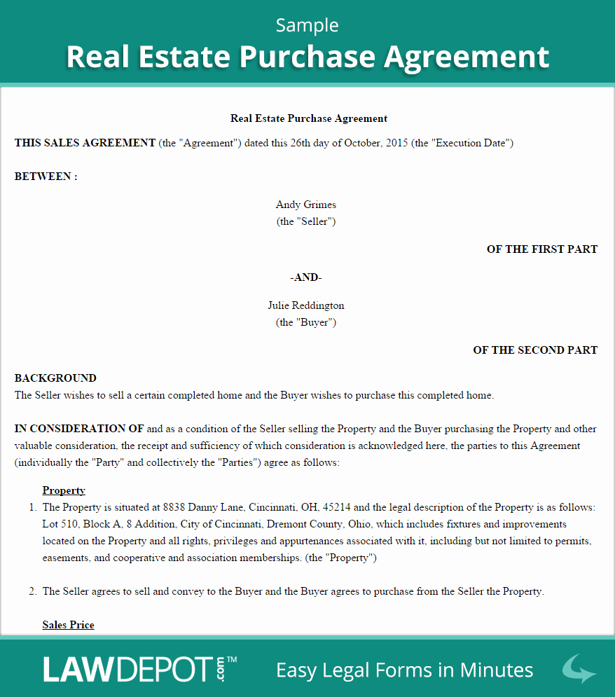 Real Estate Contract Template Unique Real Estate Purchase Agreement United States form Lawdepot