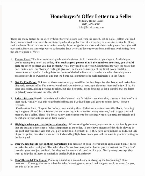 Real Estate Offer Letter Inspirational 8 Real Estate Fer Letter Template 9 Free Word Pdf