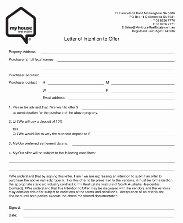 Real Estate Offer Letter New 8 Real Estate Fer Letter Template 9 Free Word Pdf
