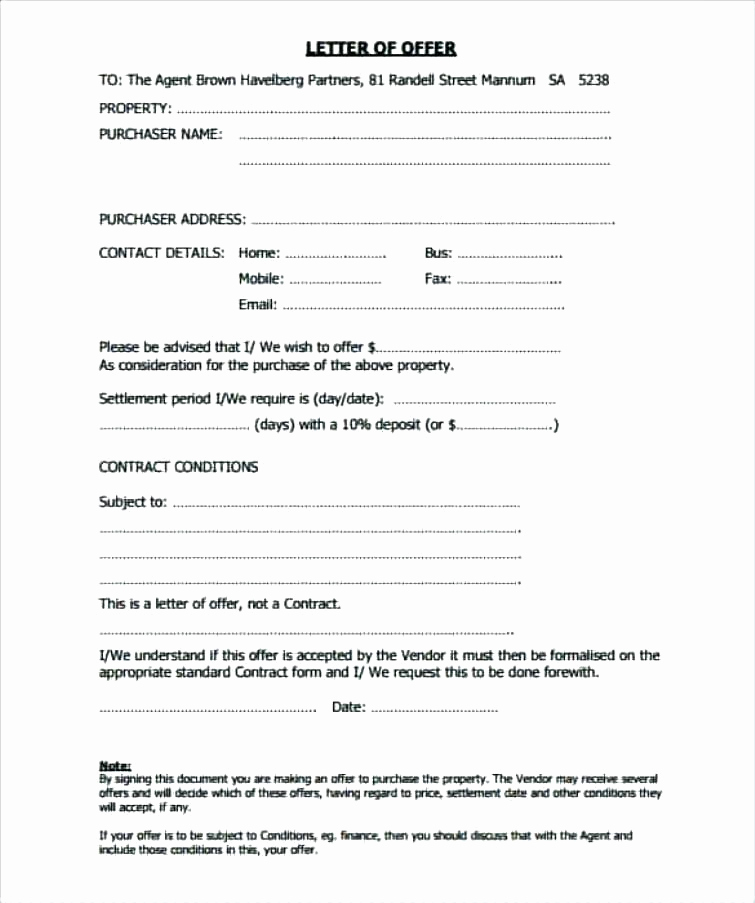 Real Estate Offer Letter New Offer to Purchase Example – Syncla
