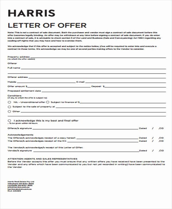 Real Estate Offer Letter Unique 40 Fer Letter Templates In Pdf