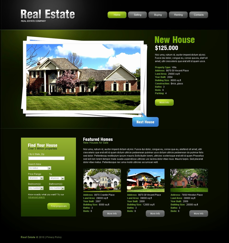 Real Estate Website Templates Inspirational Real Estate Agency Website Template
