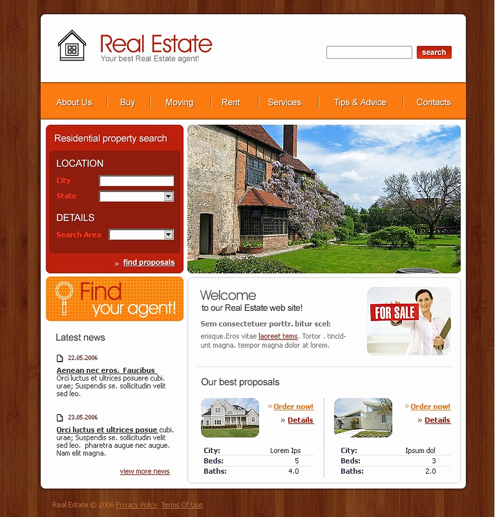 Real Estate Website Templates Luxury Real Estate Agency Website Template