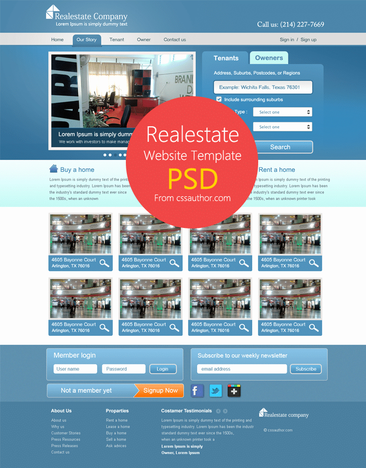 Real Estate Website Templates Luxury Real Estate Website Template Psd for Free Download