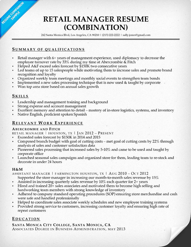 Retail Store Manager Resume Awesome Retail Manager Resume Sample & Writing Tips