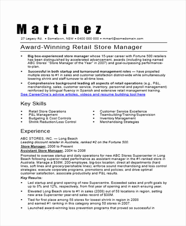 Retail Store Manager Resume Best Of 36 Manager Resumes In Word
