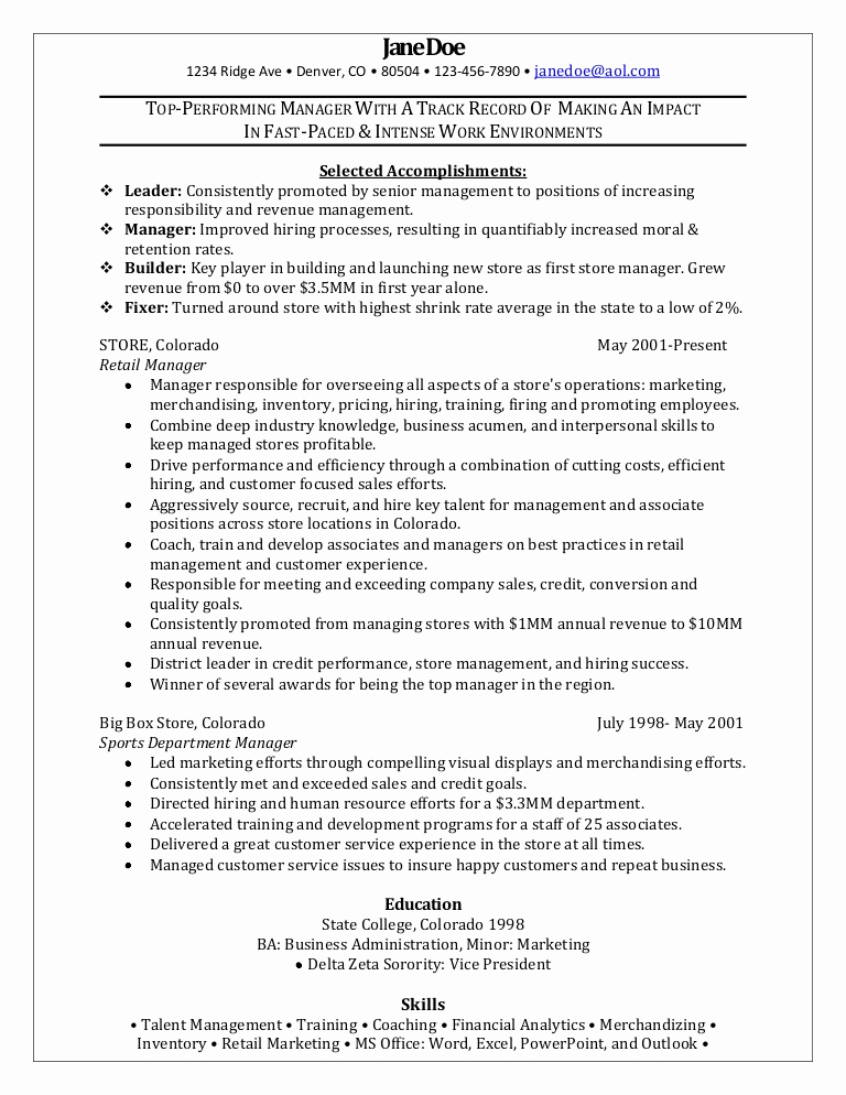 Retail Store Manager Resume Best Of Retail Manager Sample Resume