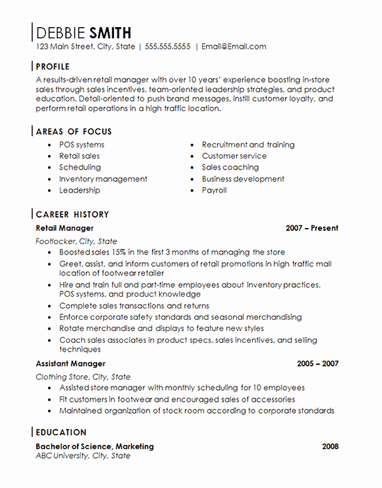 Retail Store Manager Resume Best Of Retail Store Manager Resume Example Franchise Management